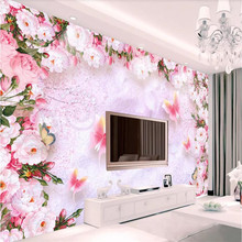 3D wallpaper creative hand-painted dream watercolor flower pink rose wall professional production mural photo