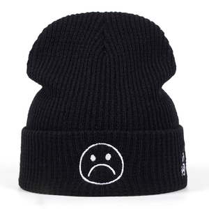 High Quality sad boy Crying face Very Casual Beanies For Men Women Fashion Knitted Winter Hat Hip-hop Skullies cap Hats(China)
