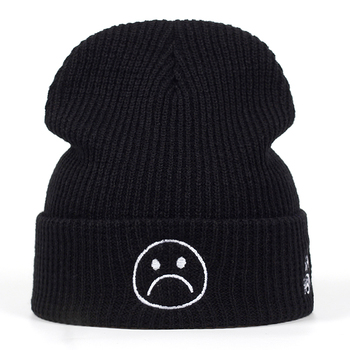 High Quality sad boy Crying face Very Casual Beanies For Men Women Fashion Knitted Winter Hat Hip-hop Skullies cap Hats lovingsha fashion brand autumn winter hats for women hip hop letter design ladies hat skullies and beanies men hat unisex ht027