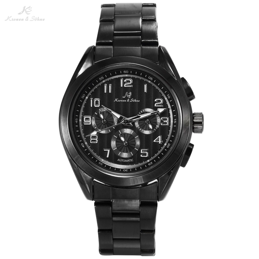 Imperial KS luxury Brand Mechanical Wristwatch Black Auto Date Day 24 Hours Display Clock Men Automatic Self Wind Watch / KS289 ks luxury automatic self wind date day 24 hours black 3 dial steel strap mechanical wrist watches mens gents timepieces ks307