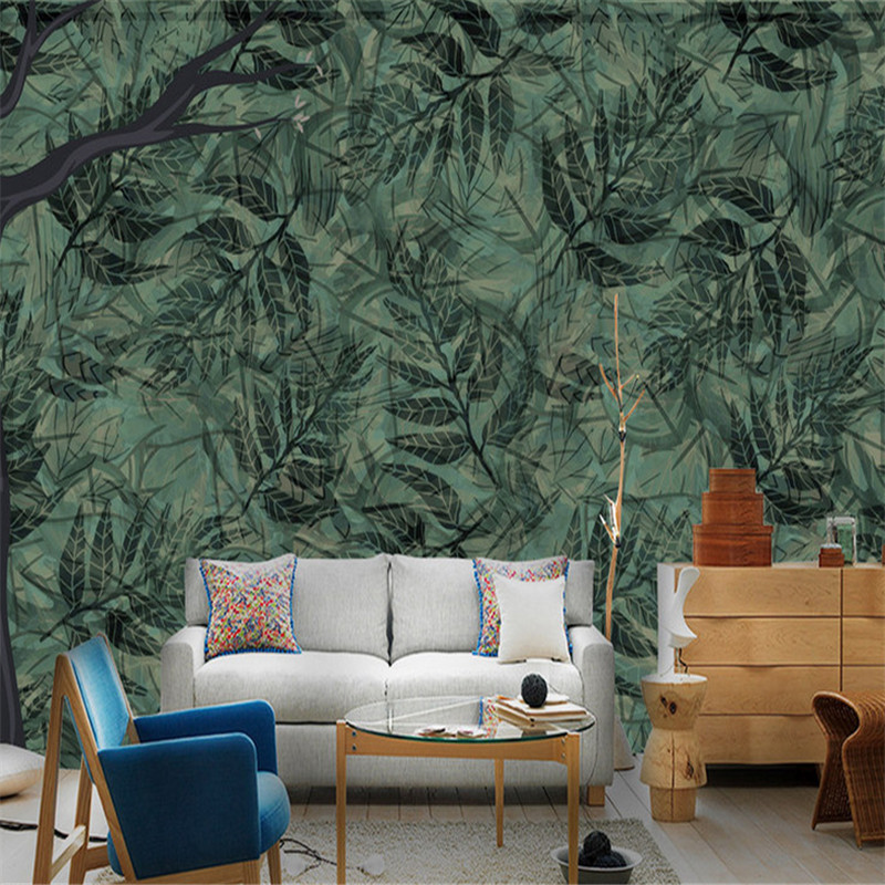 цена photo wallpaper 3d wall murals modern custom bedroom living room decor wall mural large Nordic leave wallpaper home emprovement онлайн в 2017 году