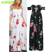 2018 women clothing short sleeve slash neck single breasted print Viscose dress Female sexy fashion slim maxi long dresses S3785