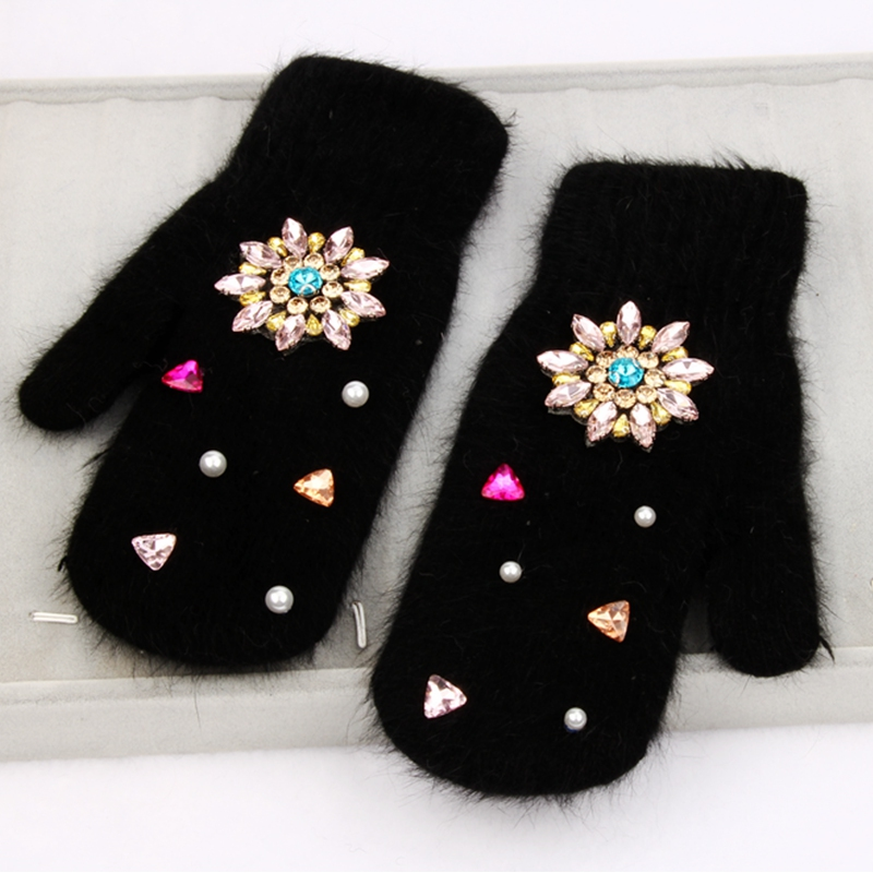 Winter Gloves Women Rabbit Fur Super Warm Gloves Crystal Flower Black Mittens Winter Ladies Full Palm Girls Gloves