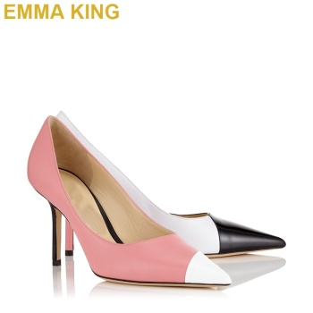 Black White Pink Patchwork Stiletto Pumps Fashion Women High Heels Shoes Pointed Toe Ladies Stiletto Heels Evening Party Pumps фото