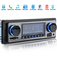 цена HOT-Bluetooth Vintage Car Radio MP3 Player Stereo USB AUX Classic Car Stereo Audio With Remote Control For Smartphone Cellphone