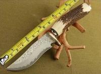 SK020 Damascus Steel Knife Blade Hunting Knife Antlers Horn Handle Handmade Damascus Forged Steel Knife Gift
