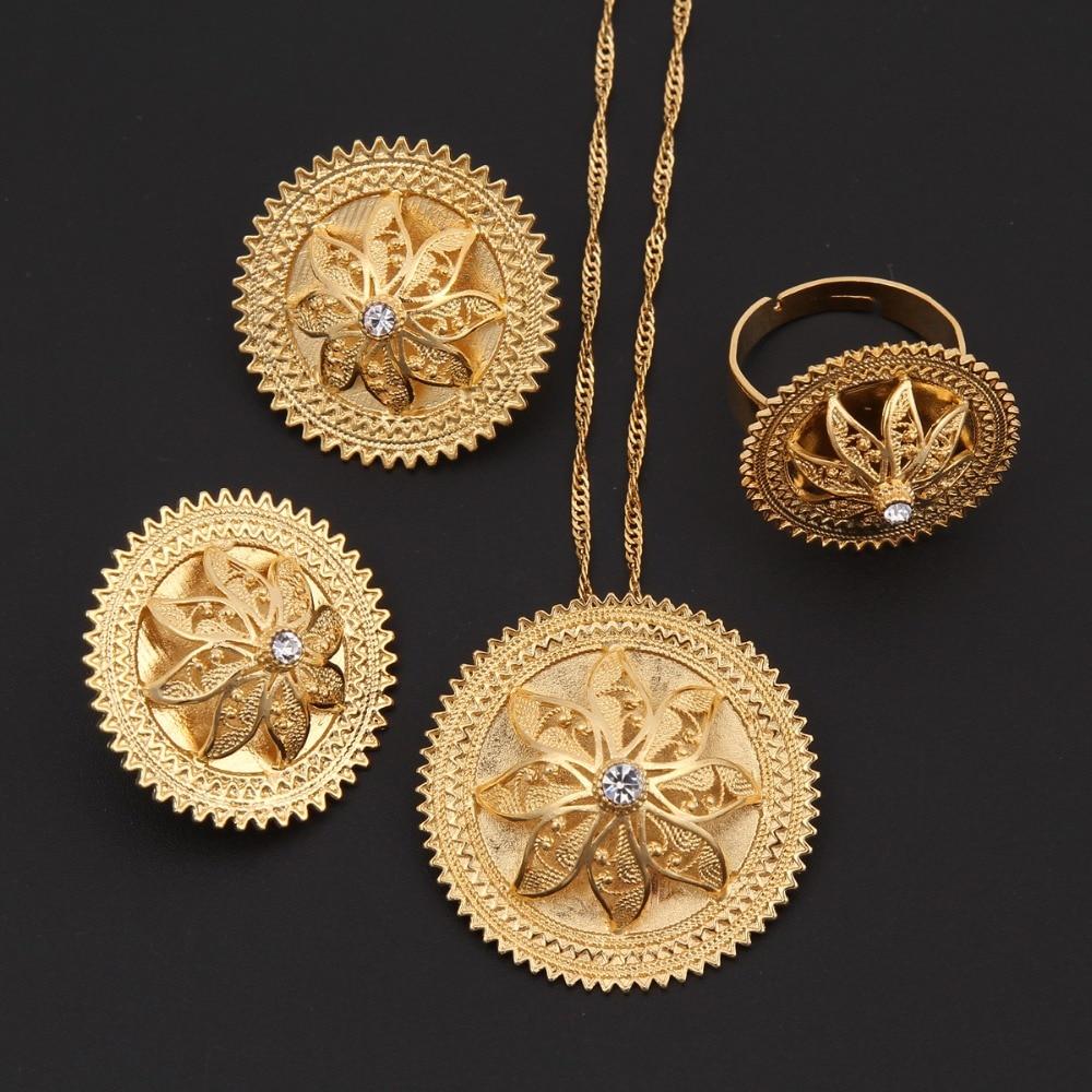 Bangrui Ethiopian Gold Jewelry sets WhiteBlue Stone Gold Habesha