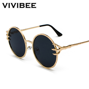 VIVIBEE Skull Claw Round Sunglasses for Women Fishion 2020 Trending Product Gothic Sun Glasses Gold Metal Frame Shades(China)