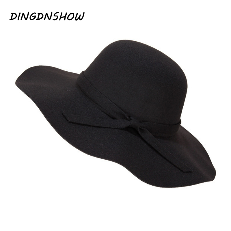 [DINGDNSHOW] 2019 Mode Fedora Hat Vintage Wool Soft Women Ladies Floppy Wide Brim Cloche Vuxen Elegant Winter Hat