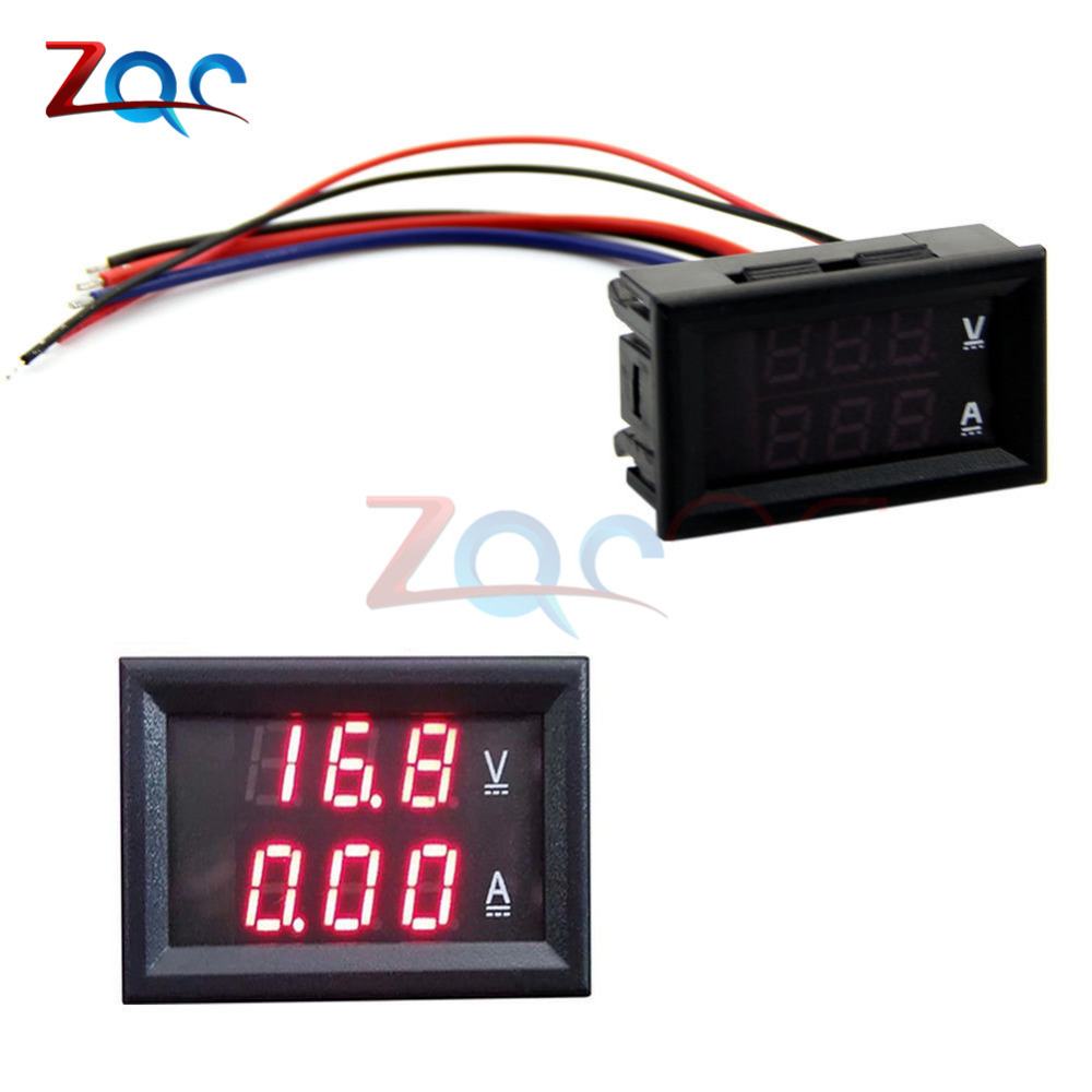DC 100V 10A Mini Digital Voltmeter Ammeter Panel Amp Volt Voltage Current Meter Tester 0.28 Red Red Dual LED Display