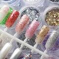 Nail 17 Colores 3D Encanto de Nueva Paillette DIY Plata Champán Lentejuelas Uñas Pigmento Rebanada Purpurina Holográfica Para La Decoración de Uñas