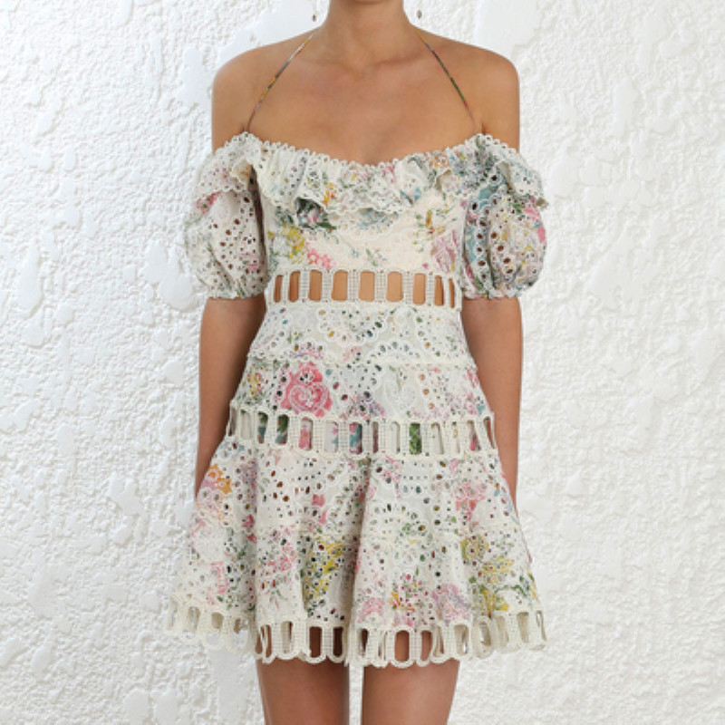 COLOREE High End Runway Midi Dress 2019 Summer Sexy Hollow Out Halter Flower Printed embroidered Vacation Beach Dress