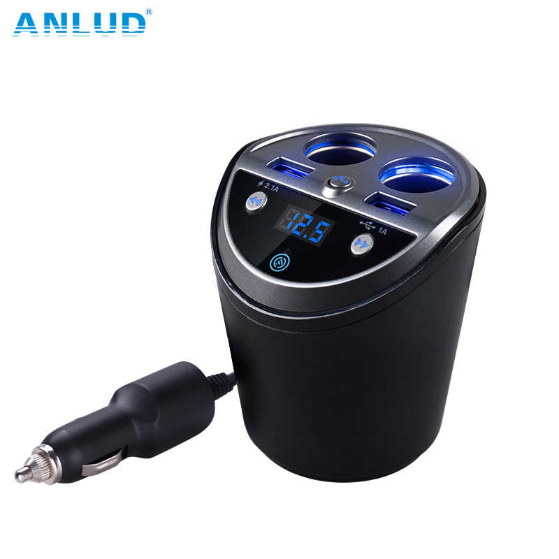 ANLUD Bluetooth Wireless Car FM Transmitter Mp3 Player Cup Holder Handsfree Car Kit FM Radio Dual USB Car Cigarette Lighter Port