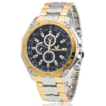 купить 2019 New Famous Brand Big Dial Gold Casual Quartz Watch Men Full Stainless Steel Watches Relogio Masculino Men's Clock Hot Sale дешево