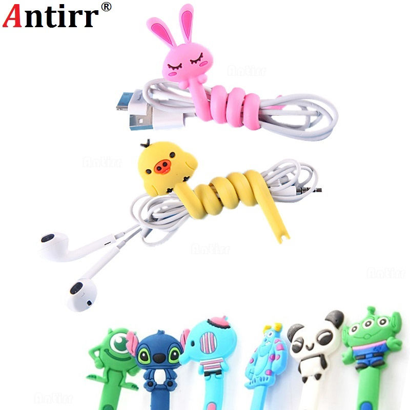 Cute Multipurpose phone Usb font b Cable b font Winder clip Wire Cord Organizer protector Earphone