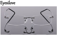 Eyesilove memory titanium glasses frame Flexible Memory Metal Rimless Eyeglasses Frame for oculos de grau Glasses Optical Frame