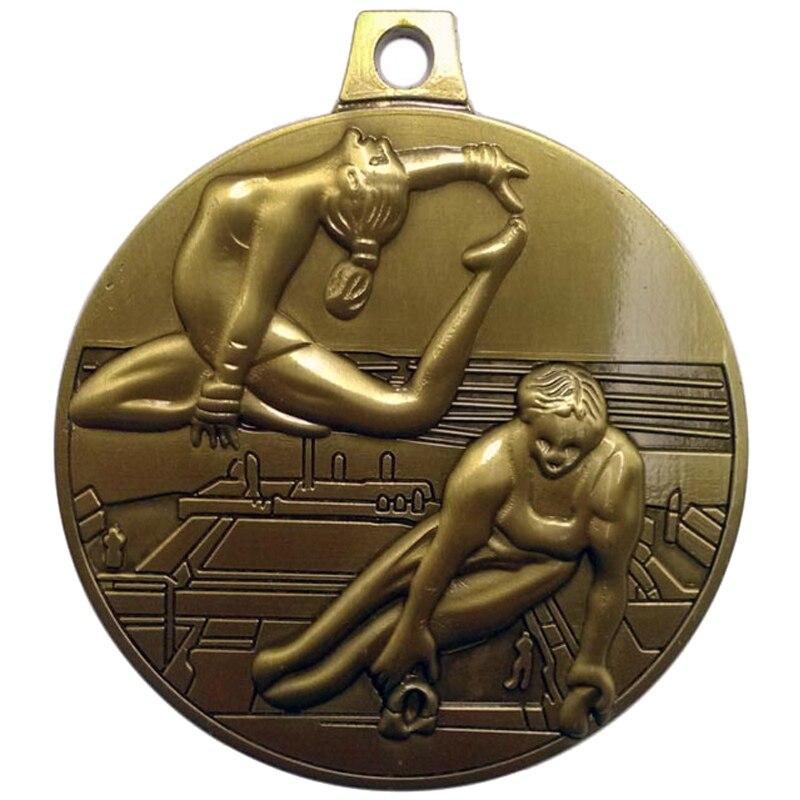 Customized 3D Logo Gold Gymnastics Theme Award Medals