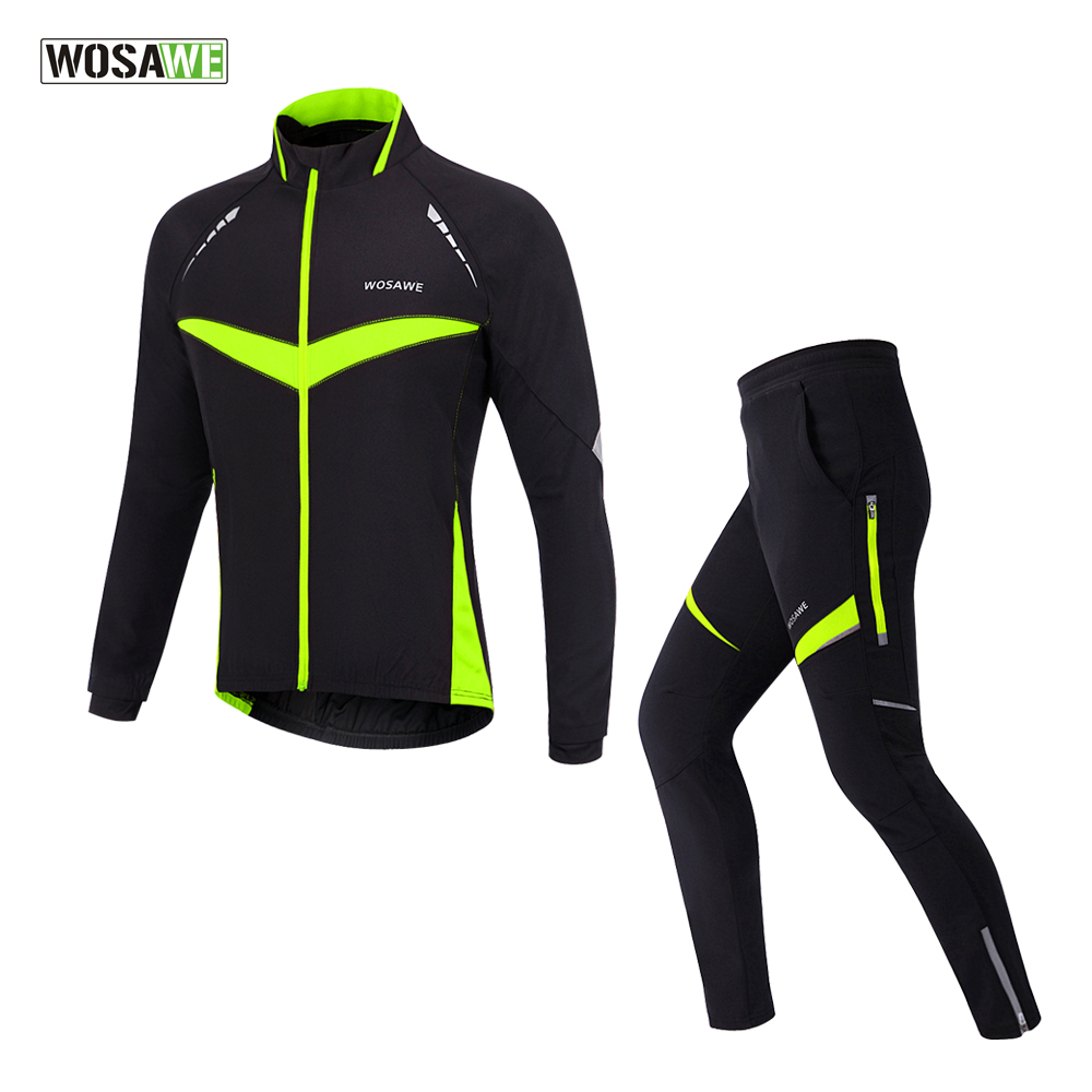 WOSAWE Winter Fleece Cycling Jacket Sets Bicycle Thermal Jacket Men Bike Trousers ropa ciclismo Winter Cycling Clothing купить дешево онлайн