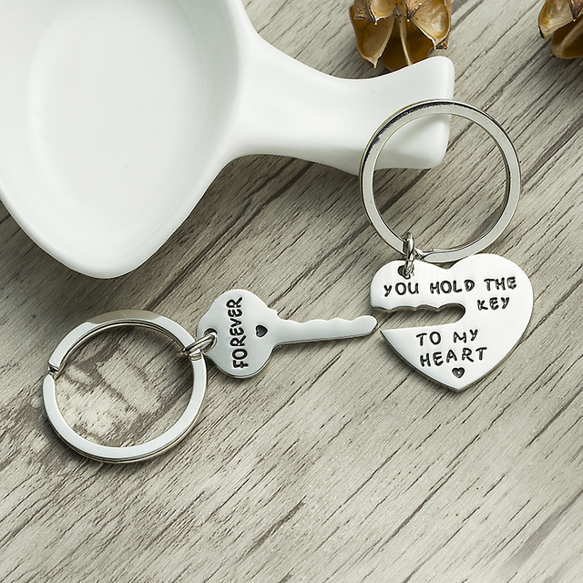XIAOJINGLING Design Key&Heart Keychain Women Fashion Jewelry Men Keyring you HOLD THE KEY TO MY HEART FOREVER Couple Lovers Gift
