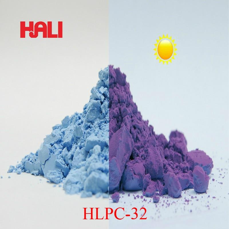 Vender pigmento fotocrómico de cambio de dos colores, Polvo de pigmento de reacción de luz solar, 1 lote = 100 gramos HLPC 32 azul a morado, envío gratis-in Pinturas acrílicas from Suministros de oficina y escuela    1