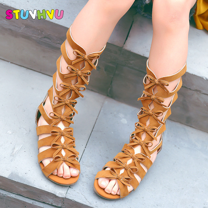2018 Little girls gladiator sandals boots scrub leather summer brown black high-top fashion roman kid sandals toddler baby shoes поло print bar гомер