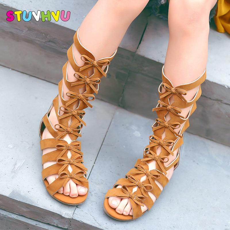 2019 petites filles gladiateur sandales bottes gommage cuir été marron noir haut-haut à la mode roman enfant sandales enfant en bas âge bébé chaussures