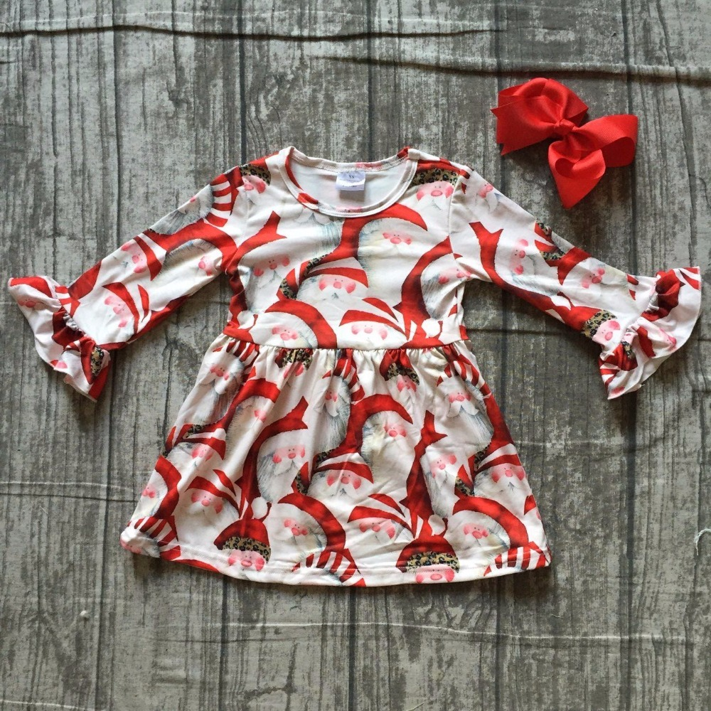 baby girls boutique Christmas dress girls Christmas party dress Santa Claus dress girls long sleeve milk silk dress with bows чайник sakura sa 2149z champagne