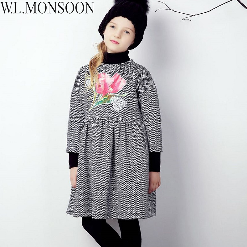 W.L.MONSOON Baby Girls Dress Winter 2017 Brand Christmas Clothes Kids Flower Dresses for Girls Long Sleeve Princess Dress 3-12Y red blue kids dresses for girls long sleeve princess dress girls clothes flower bow decortion baby infant girl dress cheep price