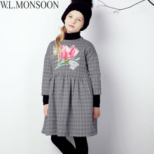 W.L.MONSOON Baby Girls Dress Winter 2017 Brand Christmas Clothes Kids Flower Dresses for Girls Long Sleeve Princess Dress 3-12Y