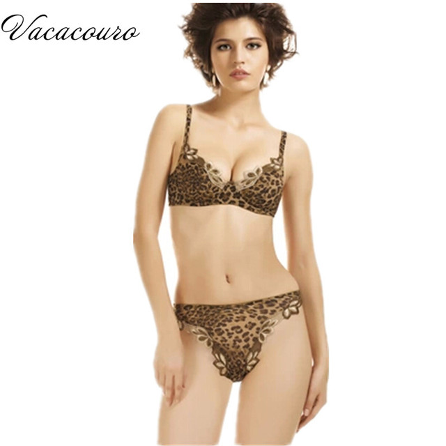 9d0479c1792 Sexy leopard print bra set underwear luxury Embroidery deep v-neck push up  intimates bra and panty set for women BS226