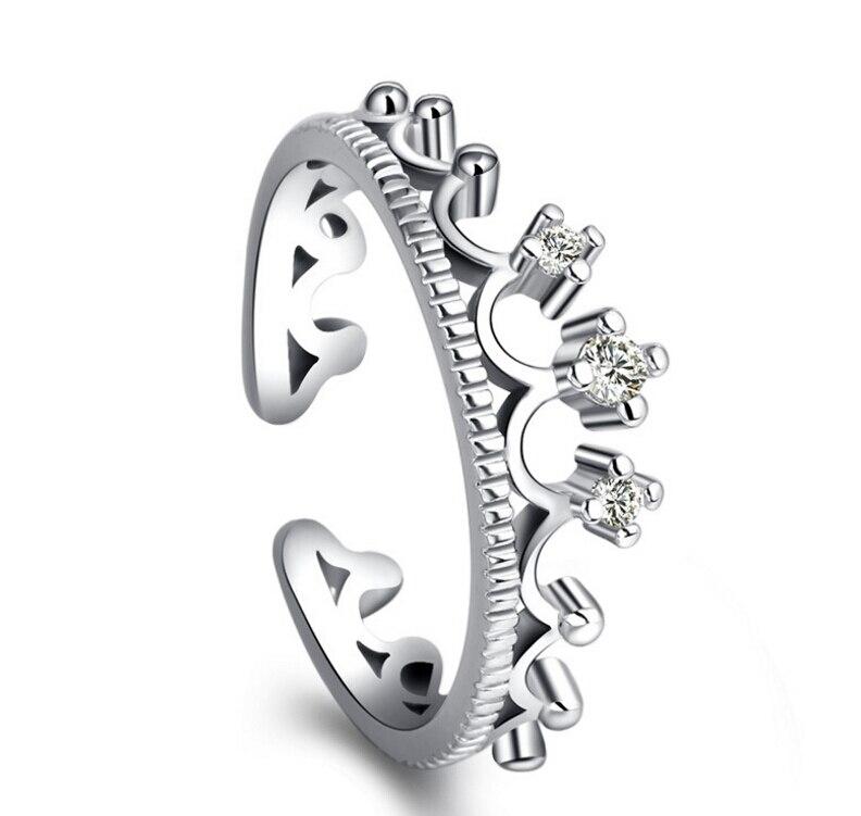 Liefhebbers Trouwringen Anillos Vrouwen 925 Sterling Zilver Zirkoonkristal Queen 'S Crown Opening Bruids Ringen Van S-R26