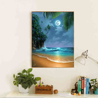 Full Diamond Painting Beach On The Moonlight Diy Diamond Embroidery European Style Picture For Living Room