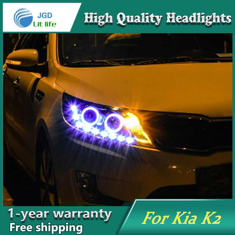 Car Styling Head Lamp case for Kia Rio K2 2011 2012 2013 2014 Headlights LED Headlight DRL Lens Double Beam Bi-Xenon HID headlight for kia k2 rio 2015 including angel eye demon eye drl turn light projector lens hid high low beam assembly