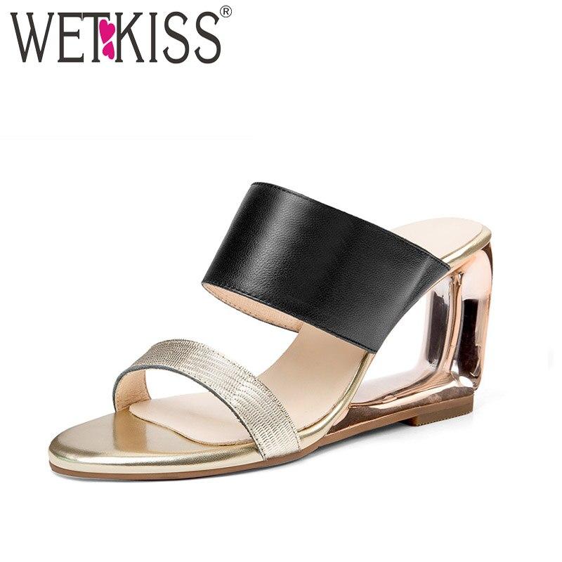 WETKISS Brand Genuine Leather High Heels Ladies Slippers Strange Style Slides Footwear 2018 New Summer Fashion Women Mules Shoes