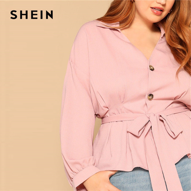 SHEIN Plus Size Pink Waist Belted Button Front Peplum Blouse Women Spring Long Sleeve Turn-Down Collar Solid Elegant Ladies Tops 3