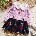 IAiRAY девочка одежда фиолетовый 1 год рождения dress младенческой девочки платья корейская мода одежда симпатичные лук с длинным рукавом