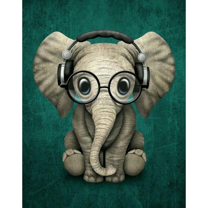 Kexinzu 5D DIY Full Square Round Diamond Painting Cross Stitch Glasses elephant 3D Diamond Embroidery Mosaic Work Hobby Gift