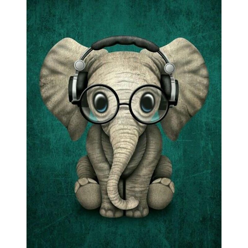 Kexinzu 5D DIY Full Square Round Diamond Painting Cross Stitch Glasses elephant 3D Diamond Embroidery Mosaic Work Hobby Gift