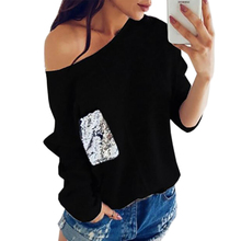 Women Knitted Sweater – Sexy Female – Slash Neck Sequined Pullover – Warm  Plus Size  Jumper – Pocket – Autumn Top