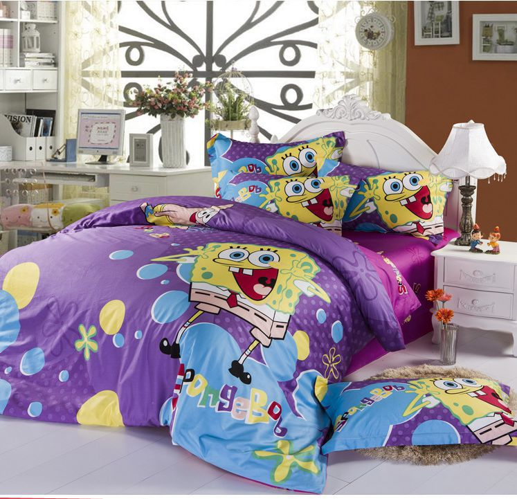 Cotton SpongeBob SquarePants Purple Cartoon Pattern Queen Childrenu0027s  Bedding Sets Duvet Covers 4 Pcs With Sheets Home Textile In Bedding Sets  From Home ...