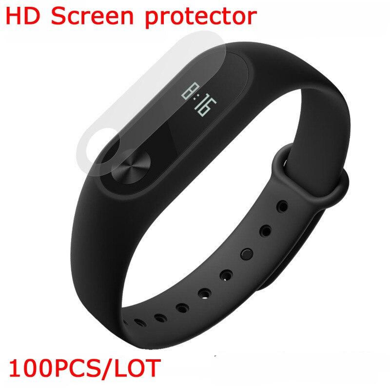 imágenes para 100 unids/lote hd clear film protector para xiaomi mi banda 2 protector de pantalla inteligente pulsera nave del poste de china a prueba de polvo