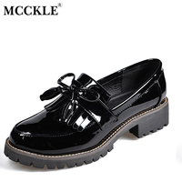 MCCKLE Women Low Heels Fashion Tassels Patent Leather Platform Shoes For Woman Sewing Slip On Female