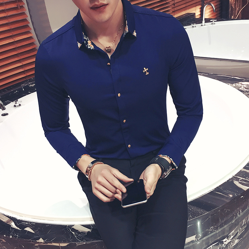 Buy flowered shirts mens royal blue for Blue dress shirt outfit