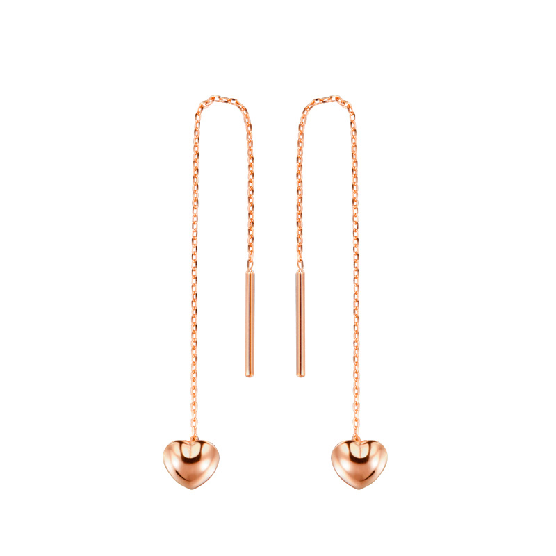 New Solid AU750 Rose Gold Earrings Long Link Heart Dangle Earrings