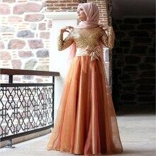 Kaftan Sleeve Muslim Vestido De Festa Evening For Prom With Hijab Gece Elbisesi Long Sequin Women Dress Dresses