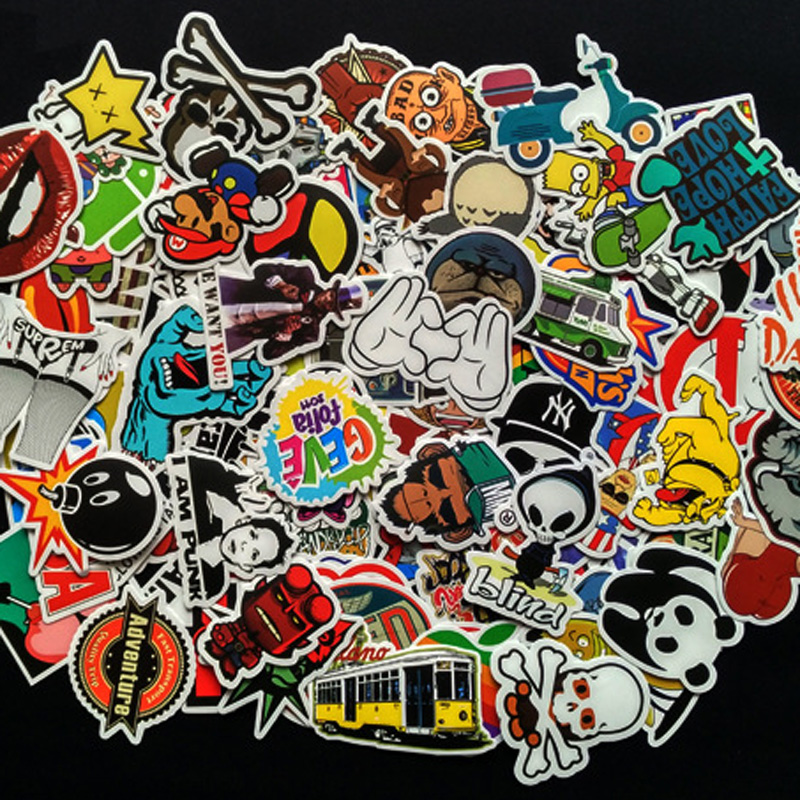100PCS Mixed Decal Car Styling Skateboard Laptop Luggage Snowboard Car Fridge Phone DIY Vinyl Decal Motorcycle Sticker Covers