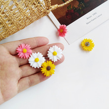 2019 Summer Design Fashion Jewelry Pink Yellow White Flower Stud Clip Earrngs For Women