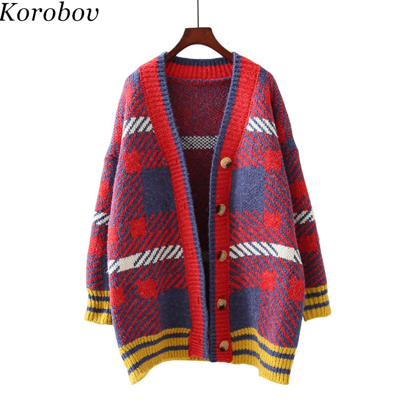Strickjackenrot Damen Winter Damen Vintage Strickjacken Pullover Korobov Plaid Lose 76486 Korean Patchwork Ausschnitt Strickwaren Feminina V 2018 Blaue New rCodxBe