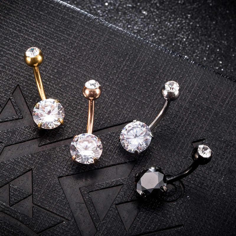 חדש סקסי נשים זהב צבע טבור פירסינג טבור גוף תכשיטי קריסטל זירקון Rhinestones עגול גוף טבעת תכשיטים