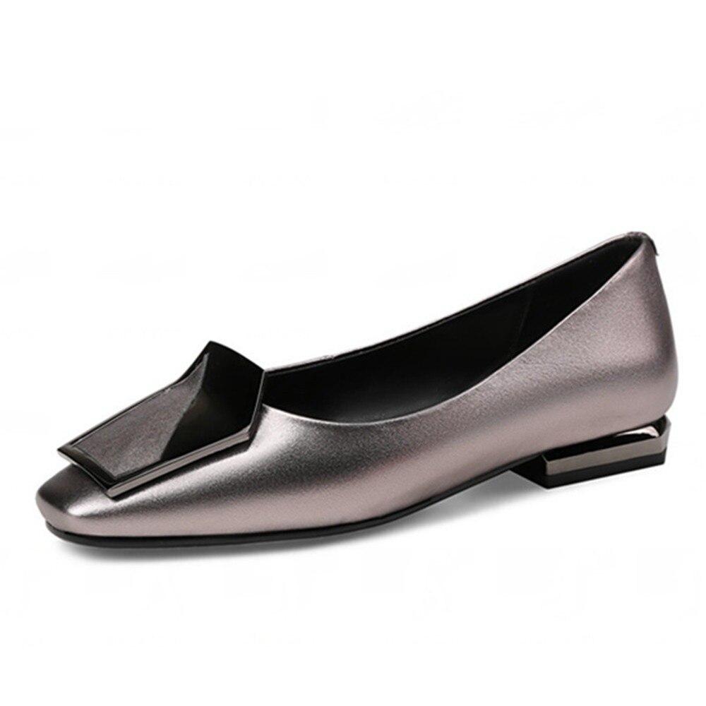 ddbba88b91 FEDONAS 2018 Novos Das Mulheres Da Forma Genuína Sapatos de Couro Do Dedo  Do Pé Quadrado